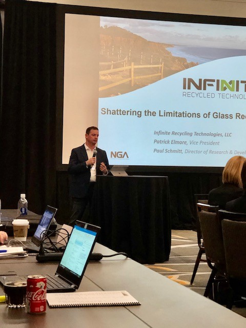 Patrick Elmore with Infinite Recycled Technologies discusses opportunities for glass recycling during the Annual Conference in La Jolla, Calif.